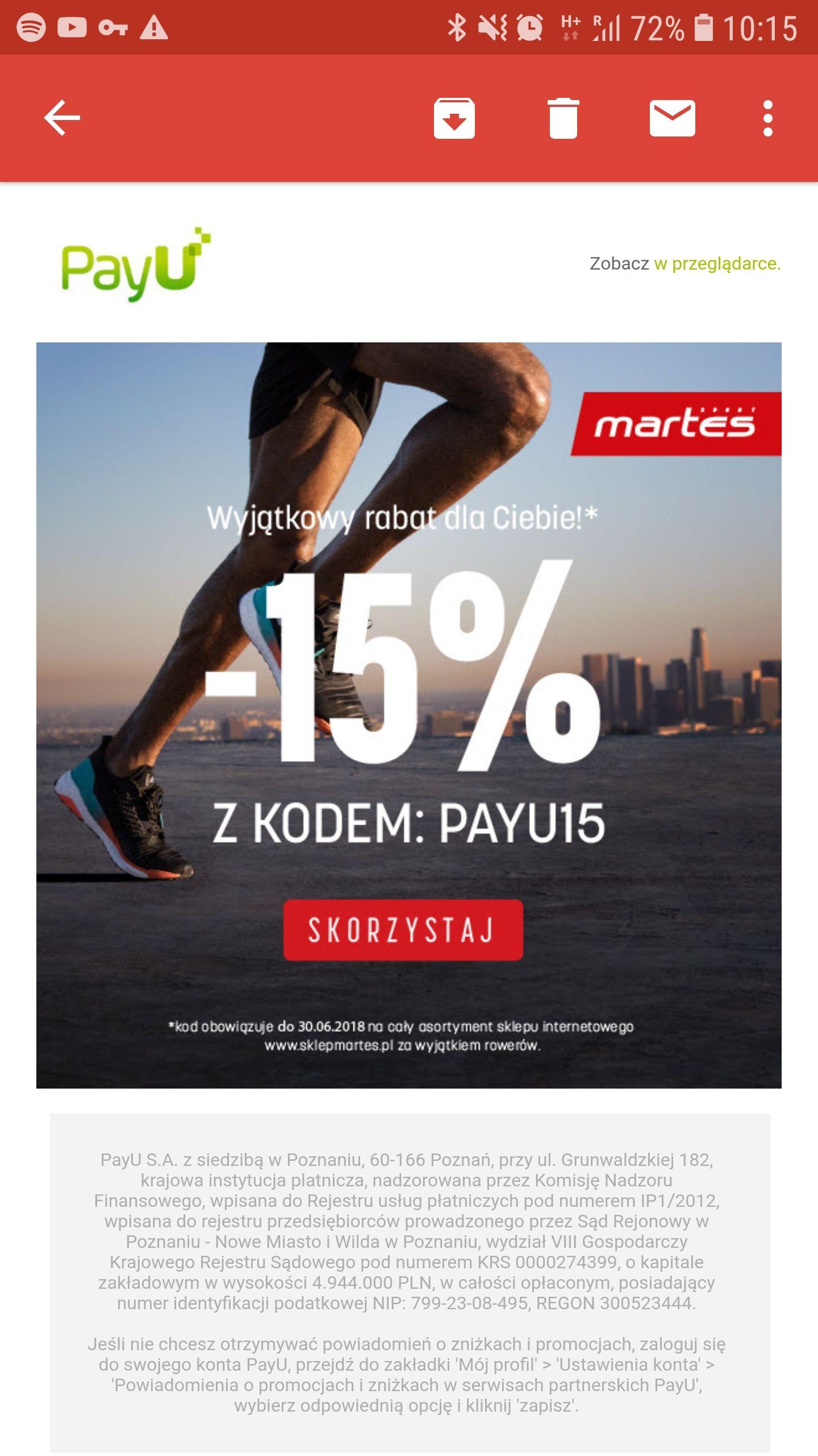 Rabat 15% w Martes od PayU