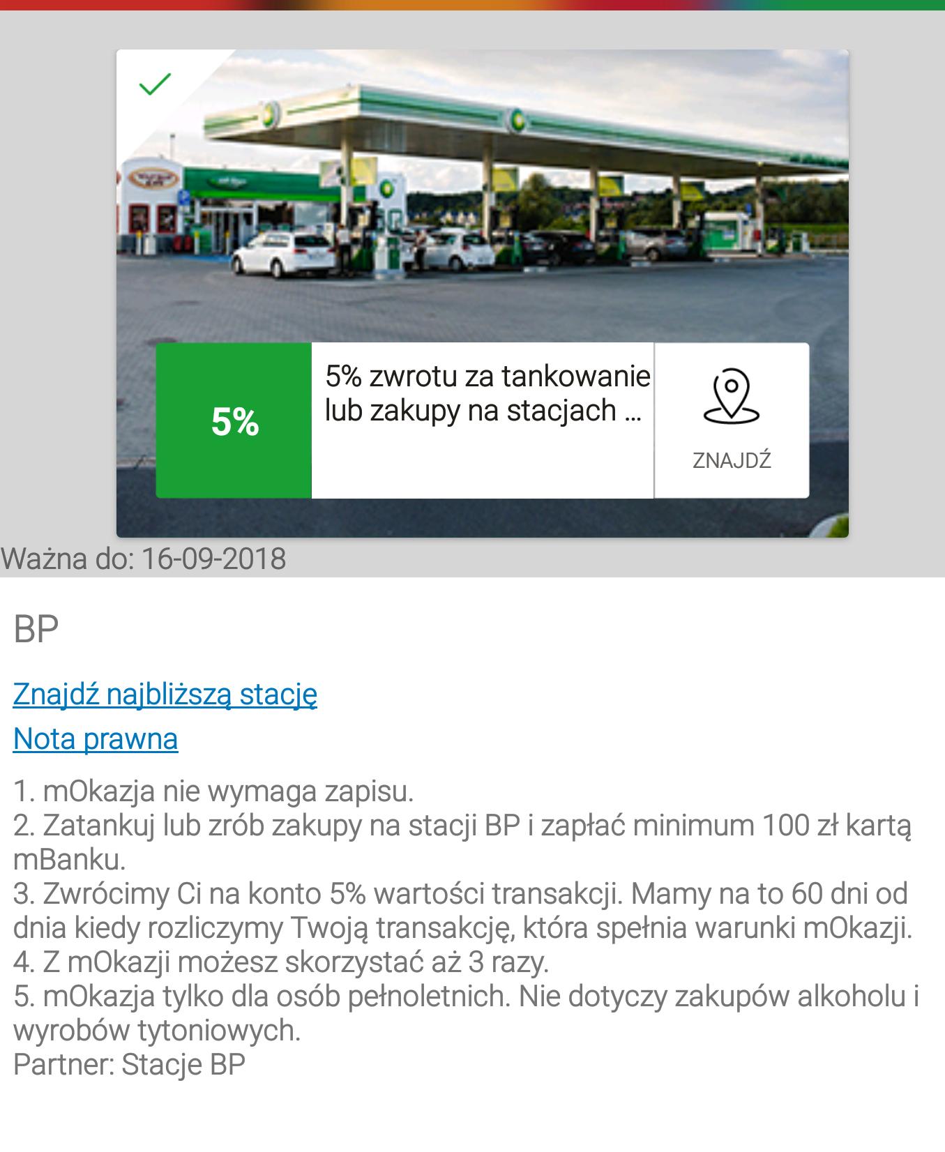 mBank 5% na stacjach bp mwz 100 zł