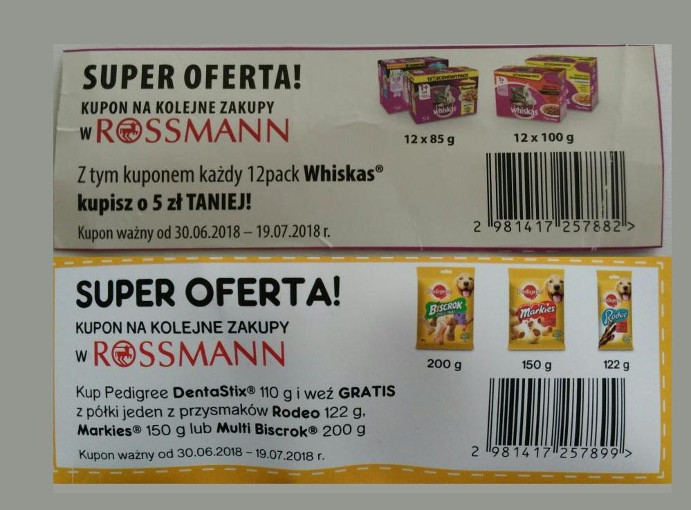 Kupon -5zł na 12pack karmy Whiskas lub przy zakupie DentaStix gratis przysmak od Pedigree w Rossmann
