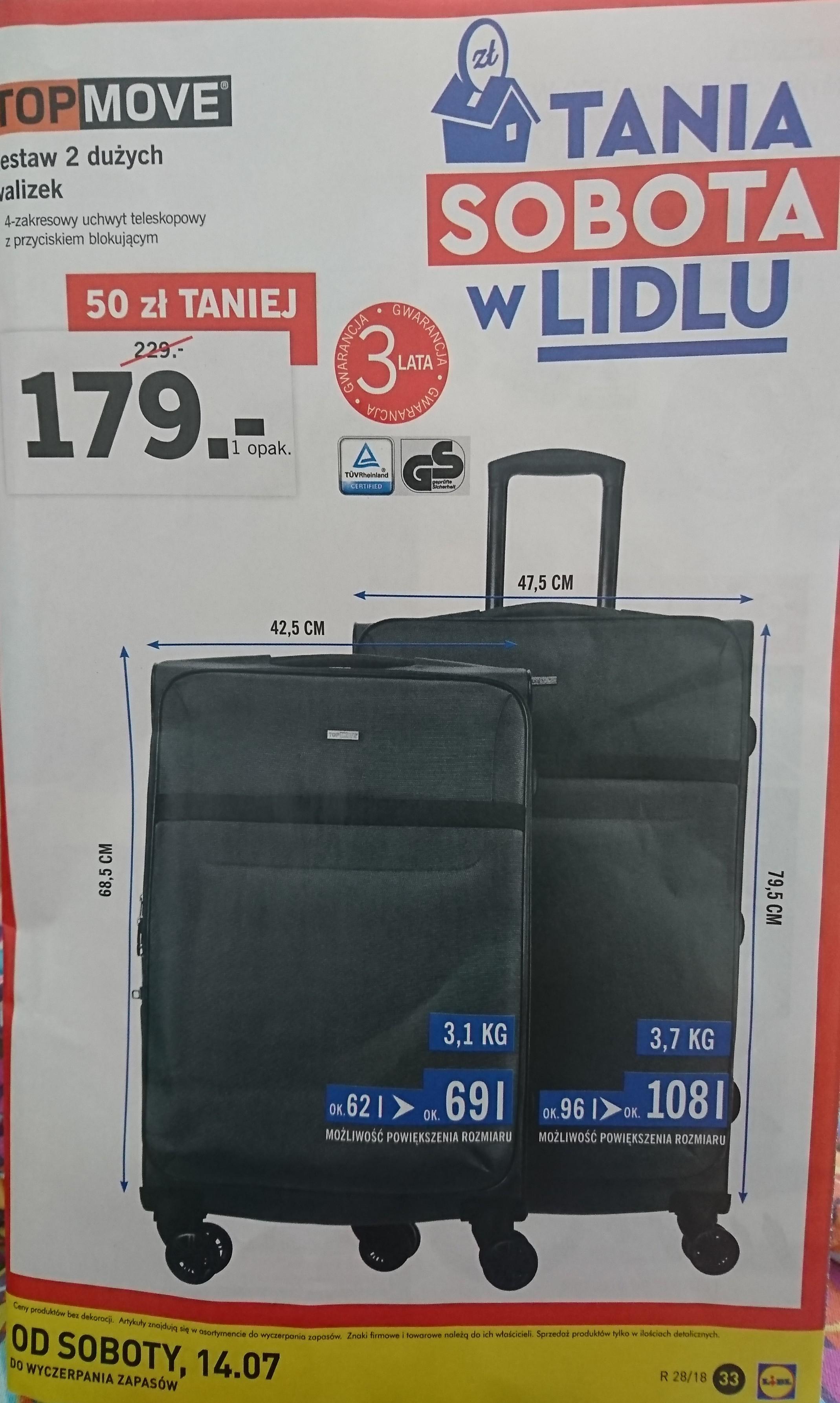 Tani sobota w Lidlu komplet dwóch walizek Top Move