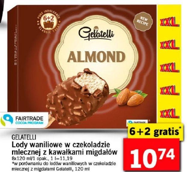 Lody Gelatelli 6+2 gratis w polewie z kawałkami migdałów Lidl