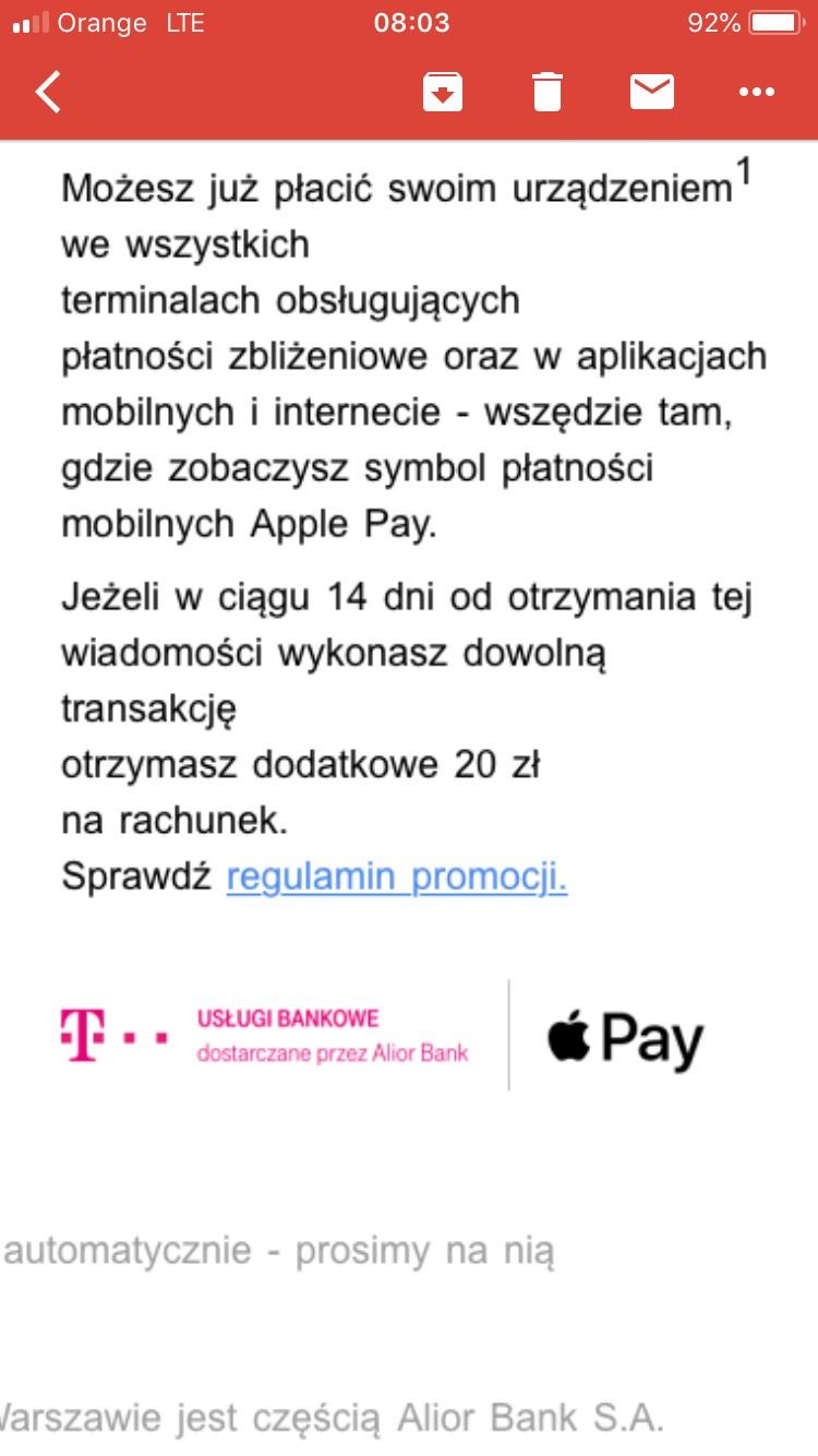T-Mobile Bankowość rozdaje 20 złotych / Apple Pay