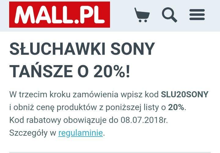 Sluchawki Sony tańsze o 20% na mall.pl