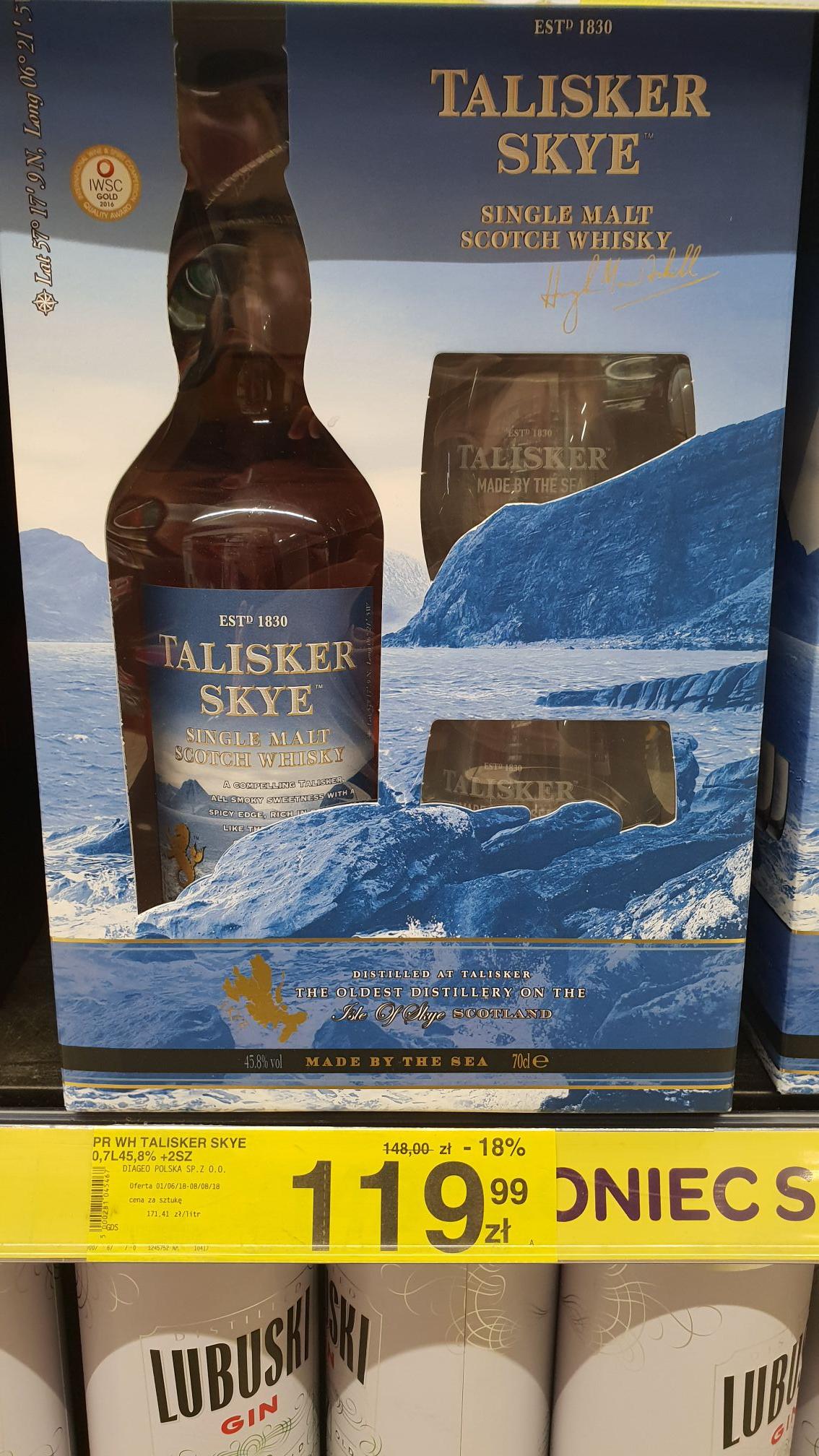 Szkocka Whisky Talisker Skye + 2 szklanki @ Carrefour