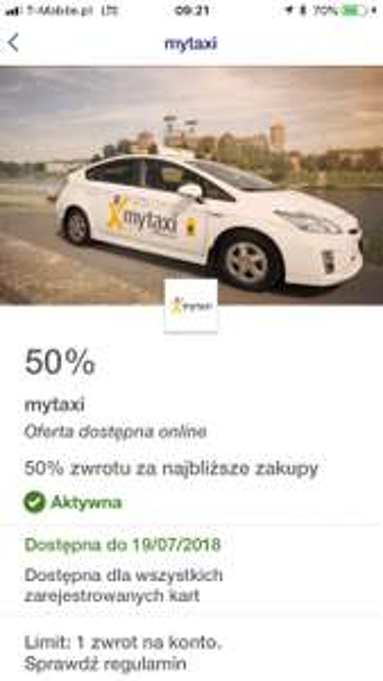 Mytaxi z ofertyvisa 50% zwrotu