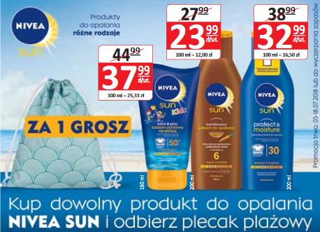 Plecak plażowy gratis przy zakupie dowolnego produktu Nivea Sun @ Natura