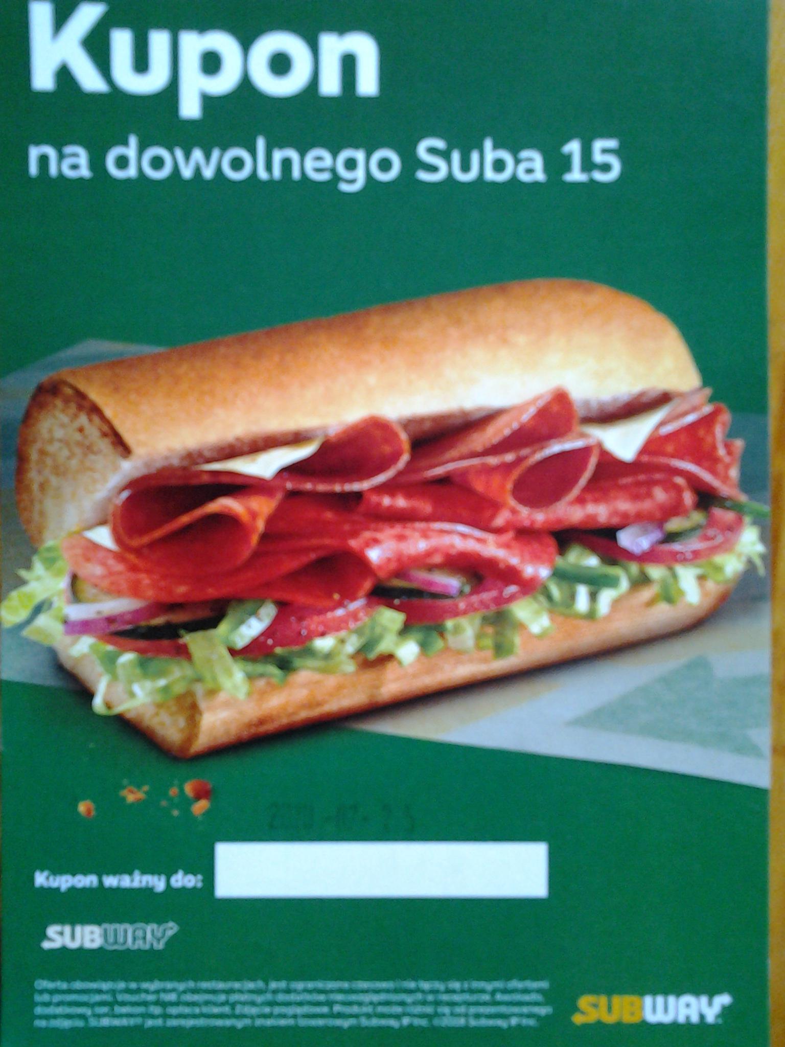 Kupon na dowolnego SUBA15 + peleryna przeciwdeszczowa - Subway (Gdynia Główna)