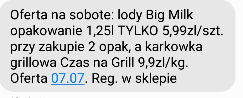 Lody Big Milk 1,25l tylko 5,99/szt. przy zakupie 2 @Biedronka