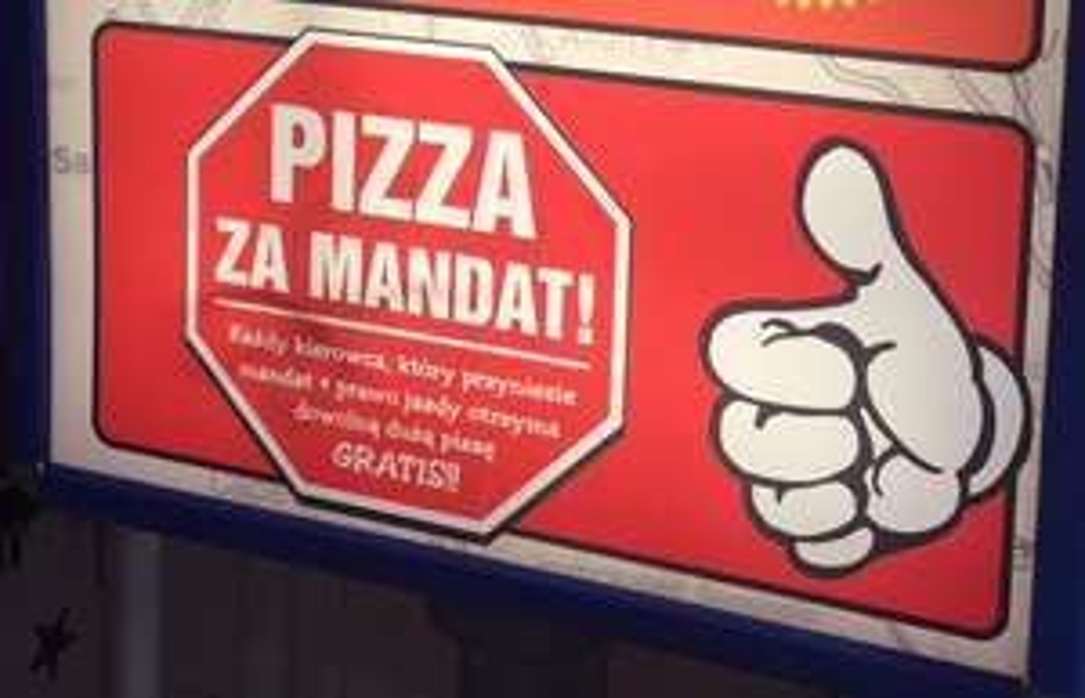 Jeff's dowolna duża pizza za darmo za mandat drogowy