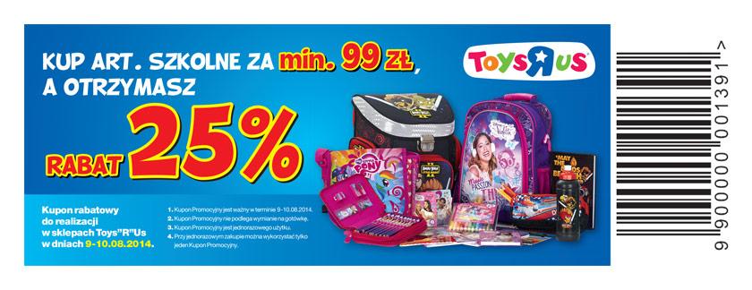 kupon rabatowy -25% przy zakupie za min. 99zł @ ToysRus