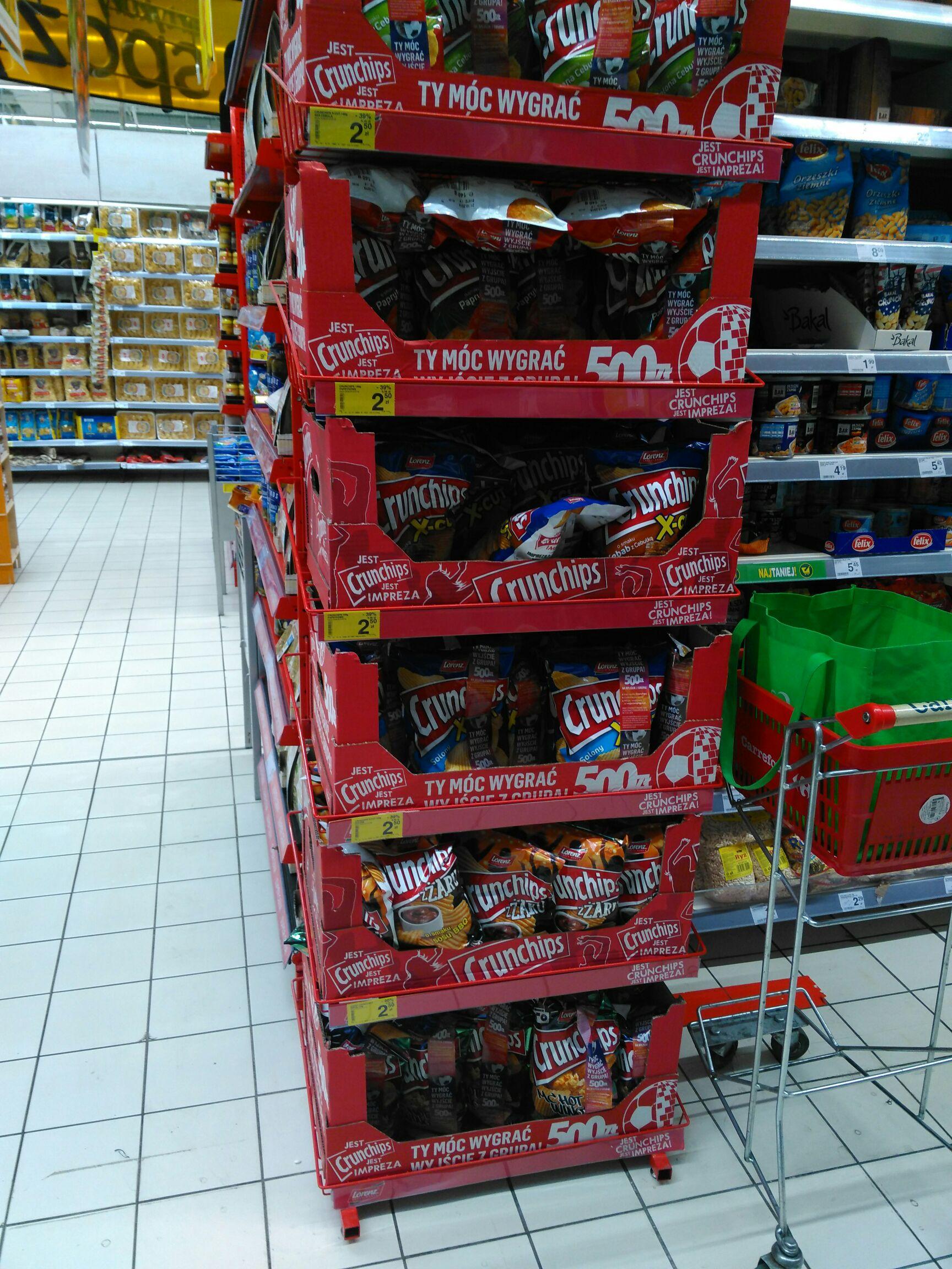 Czipsy crunchips, różne smaki i x-cuty, 39 % taniej w Carrefour