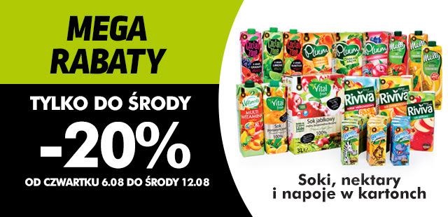 20% rabatu na wszystkie soki, nektary oraz napoje w kartonach @ Biedronka