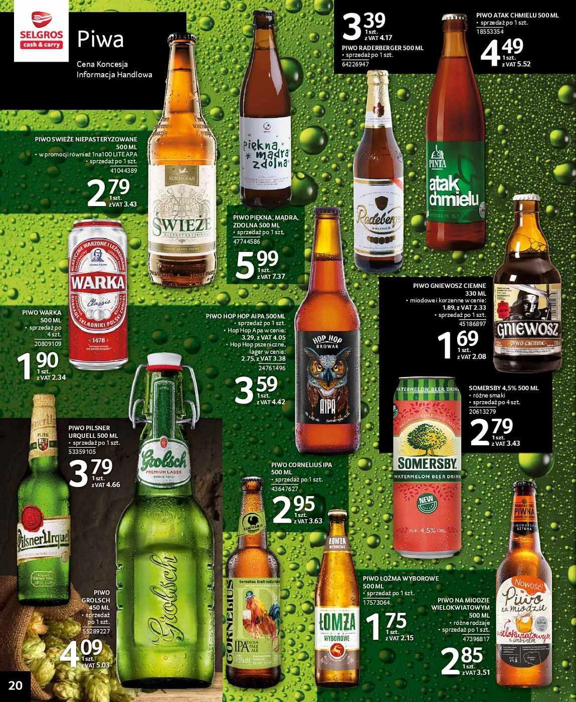 Piwo Pinta Atak Chmielu 500 ml - 5,52 zł,  Hop Hop AIPA - 4,42 zł, Hop Hop APA - 4,05 zł @ Selgros