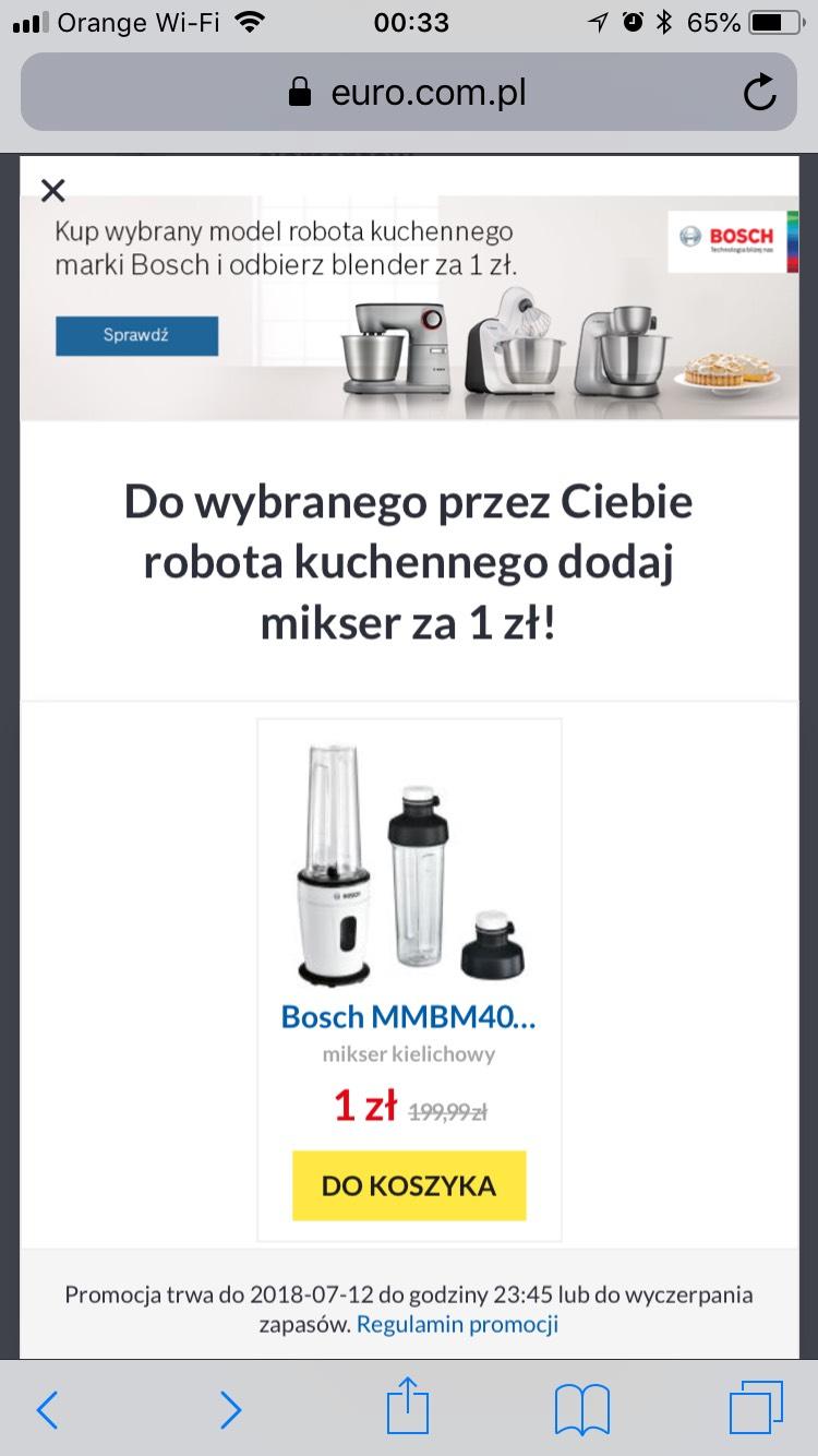 Blender/Mixer BOSCH za 1 zł przy zakupie robota kuchennego
