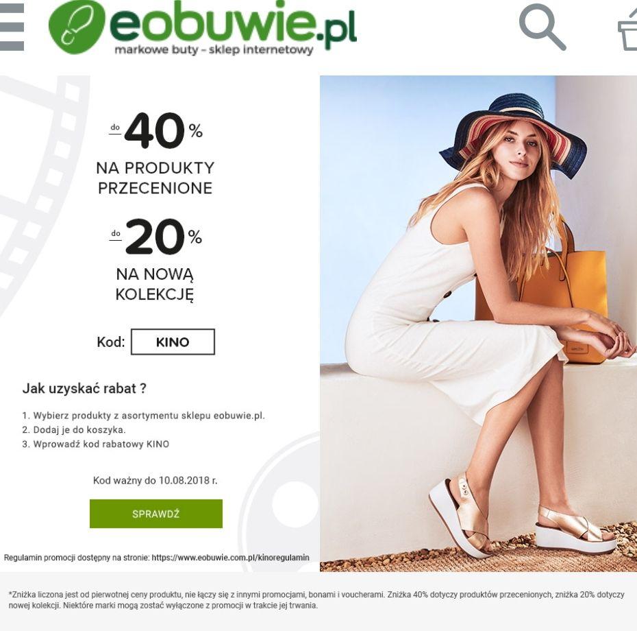 Do 40% rabatu na produkty przecenione i 20% rabatu na nową kolekcję @eobuwie.pl