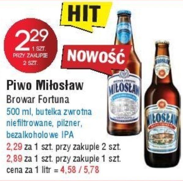 2x piwo Miłosław: Bezalkoholowe IPA, Pilzner i Niefiltrowane (2,29zł za 1) @ Leclerc