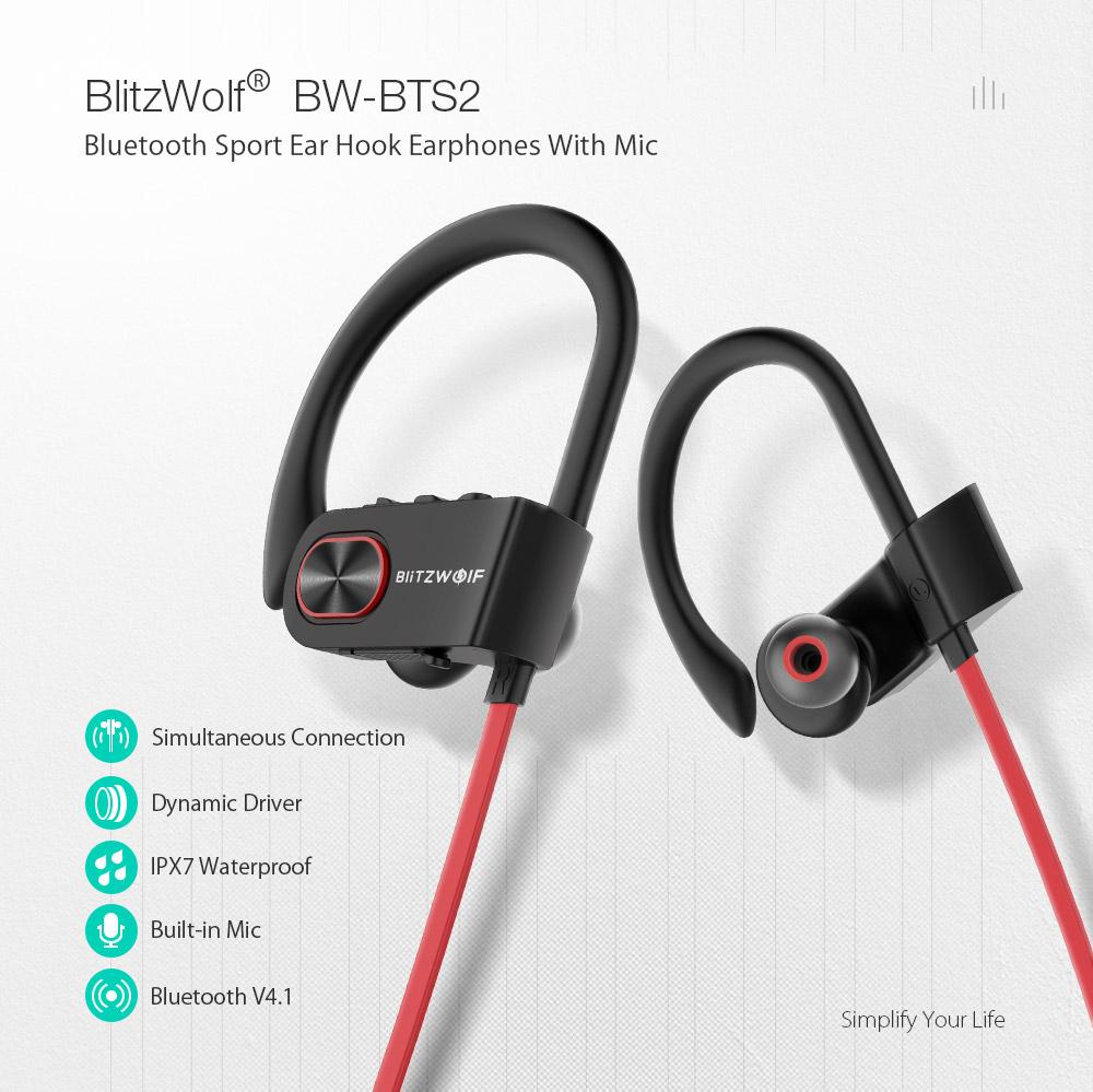 Blitzwolf® BW-BTS2 (IPX7) -sportowe, wodoodporne słuchawki bluetooth
