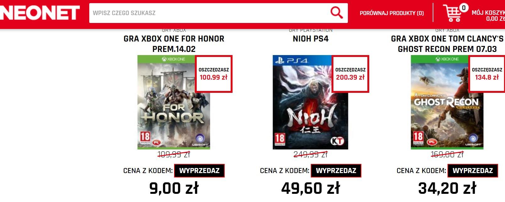 WYPRZEDAŻ GIER np. For Honor XBOX ONE/PS4 za 9zł, FIFA 17 PC za 1 zł, Starcraft 2 za 9 zł i wiele innych