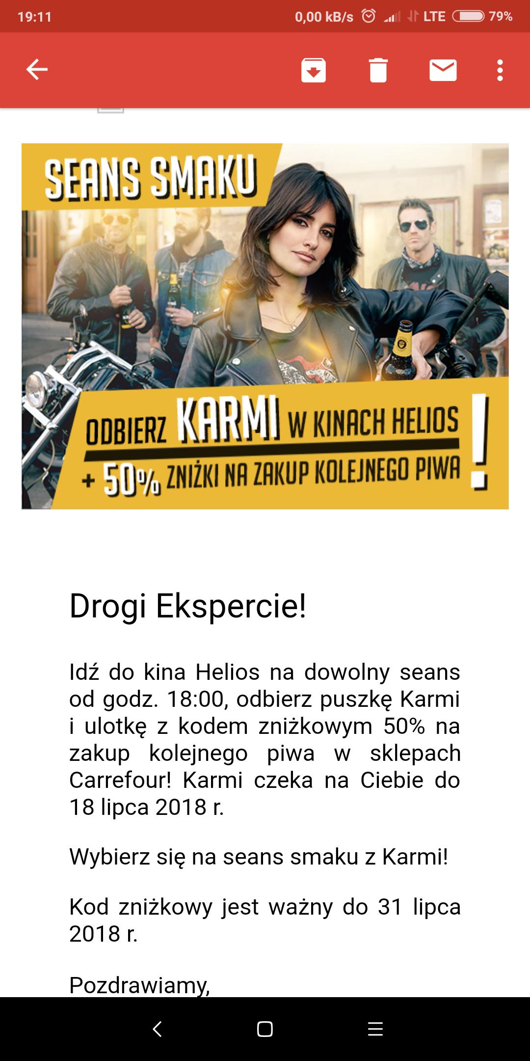 Karmi za darmo w kinach Helios
