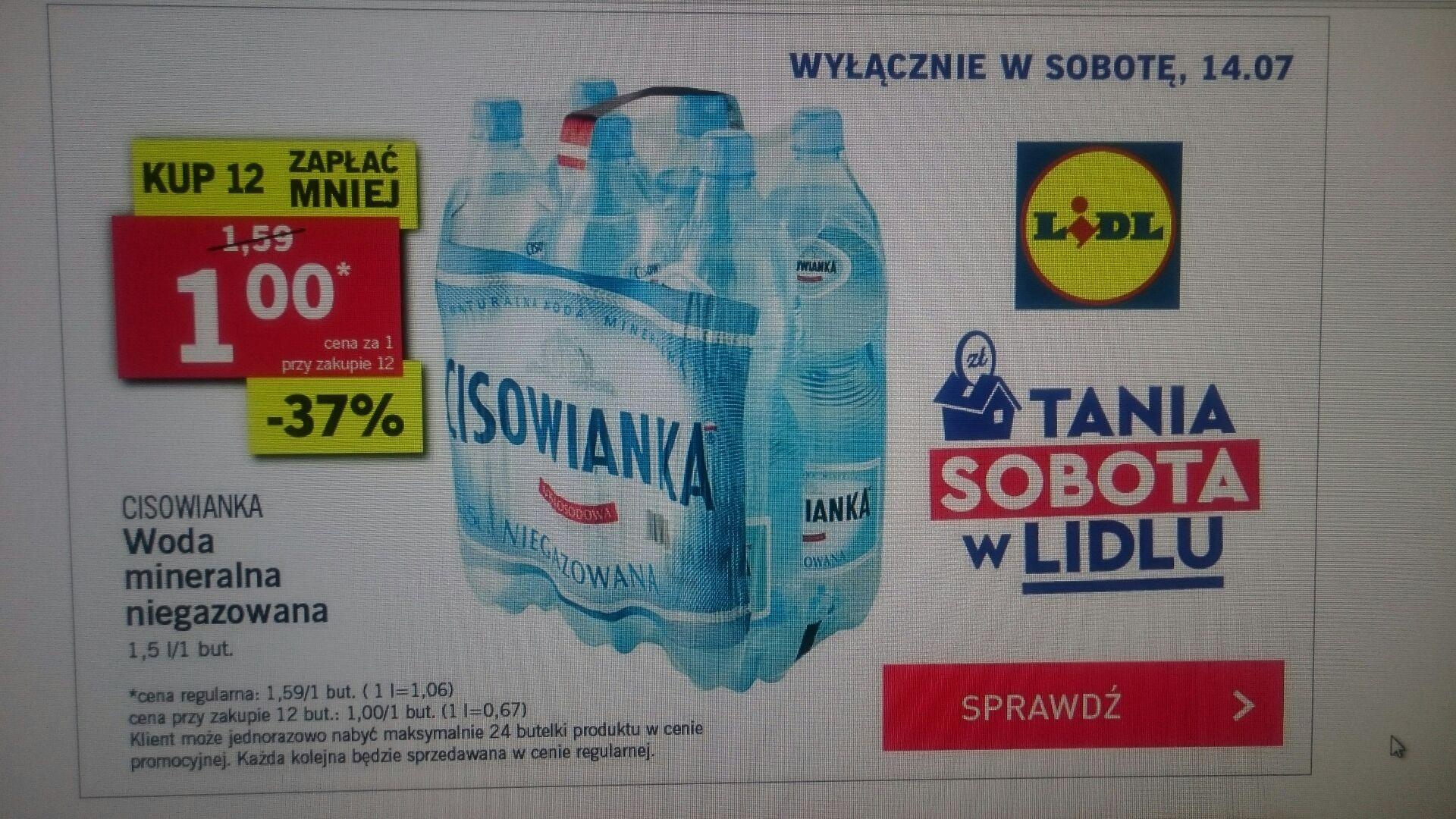 Cisowianka niegazowana za 1 zł w Lidlu