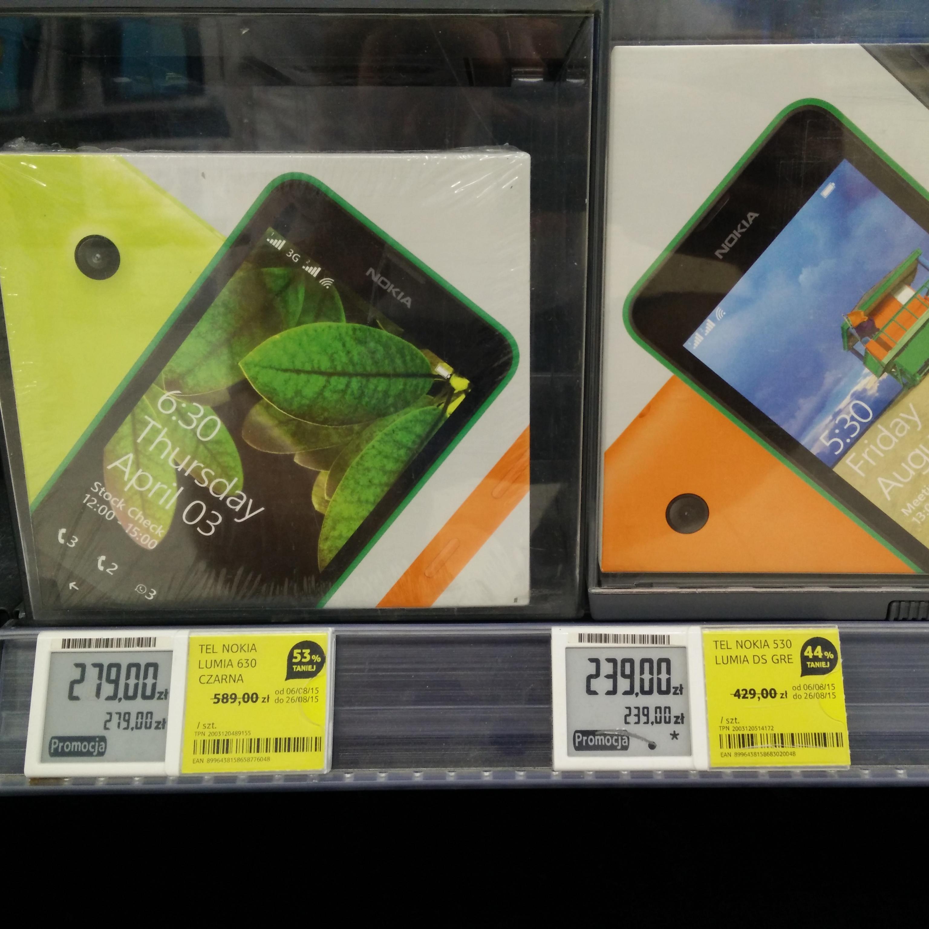 Lumia 630 DS 53% taniej. Lumia 530 za 239zł @Tesco