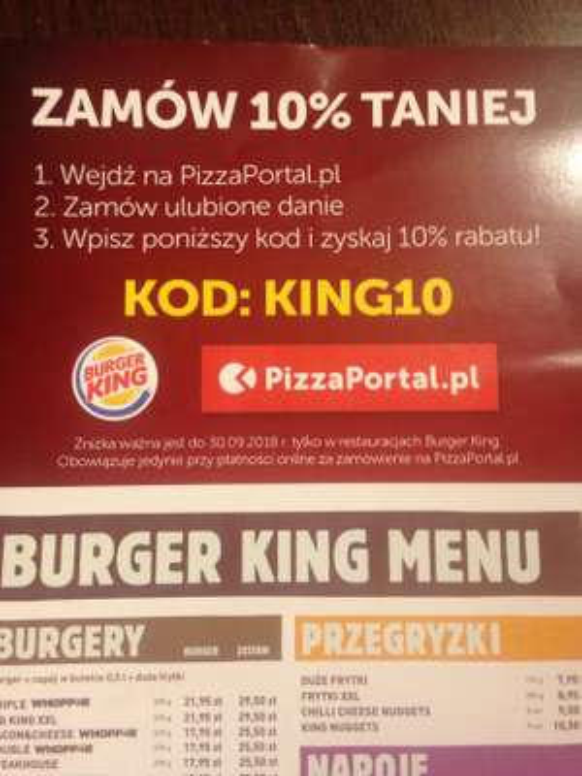 Burger King na PizzaPortal -10%