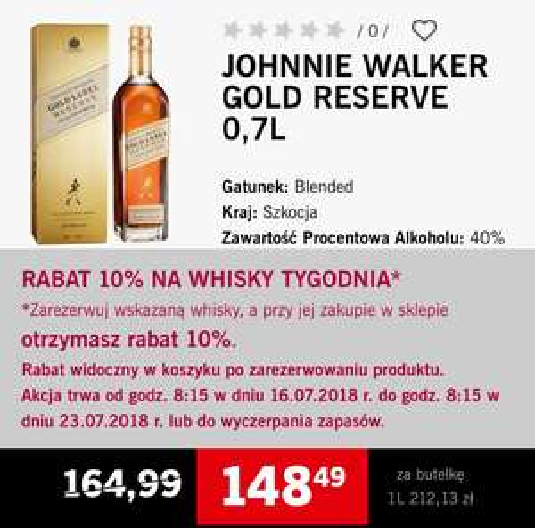 Whisky Johnny Walker gold label reserve 0,7 #winnicalidla