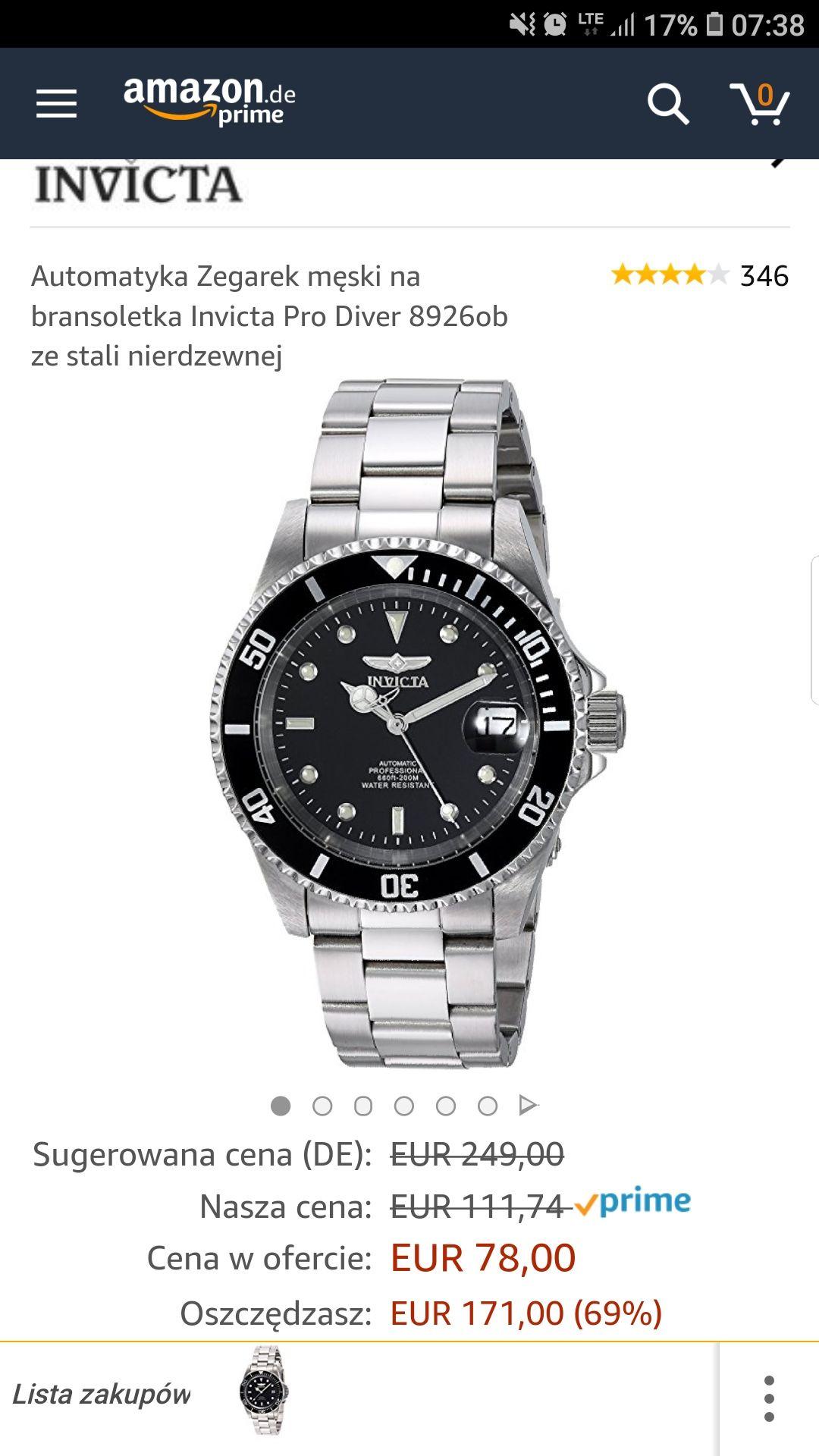Zegarek automatyczny Invicta 8926