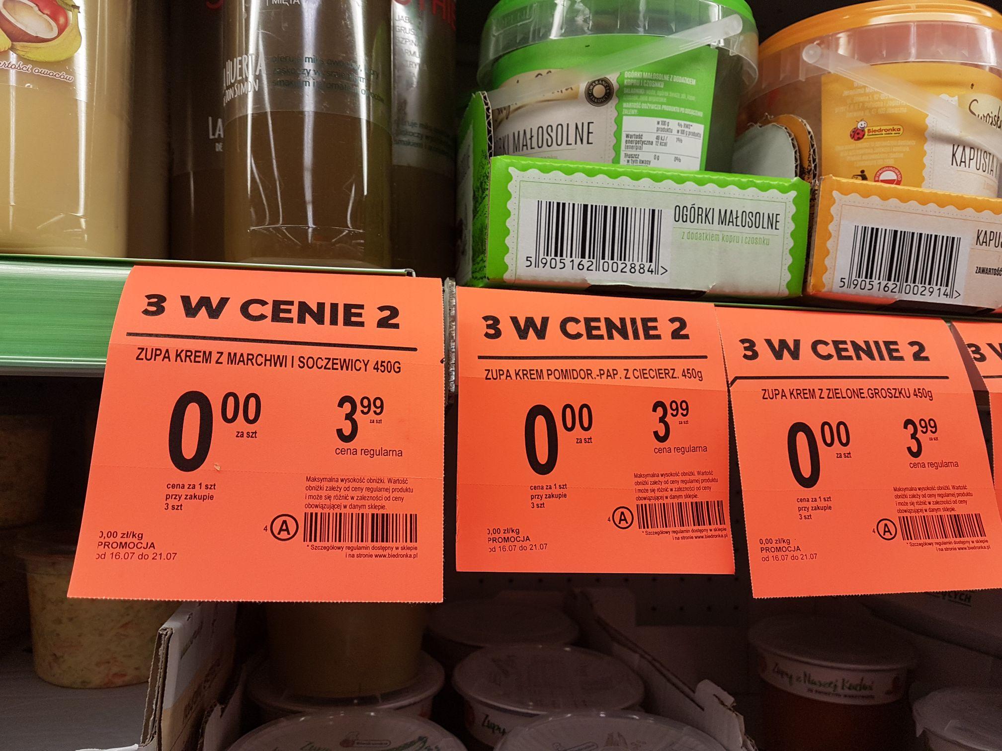 Darmowe zupy krem w Biedronce