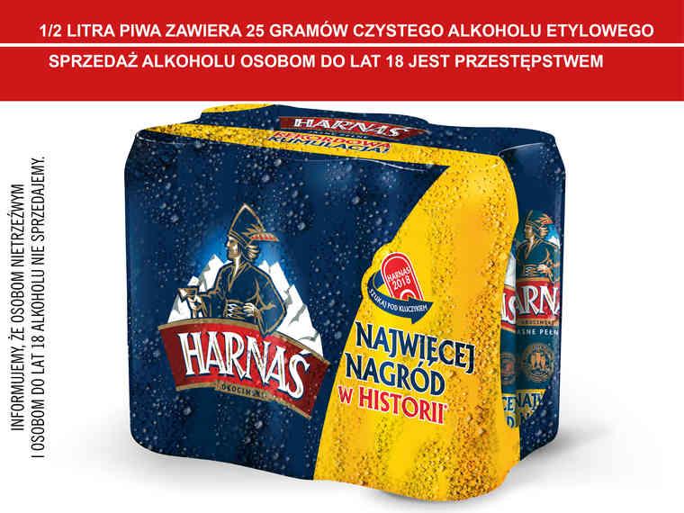 6 pak piwa Harnaś za 10,74