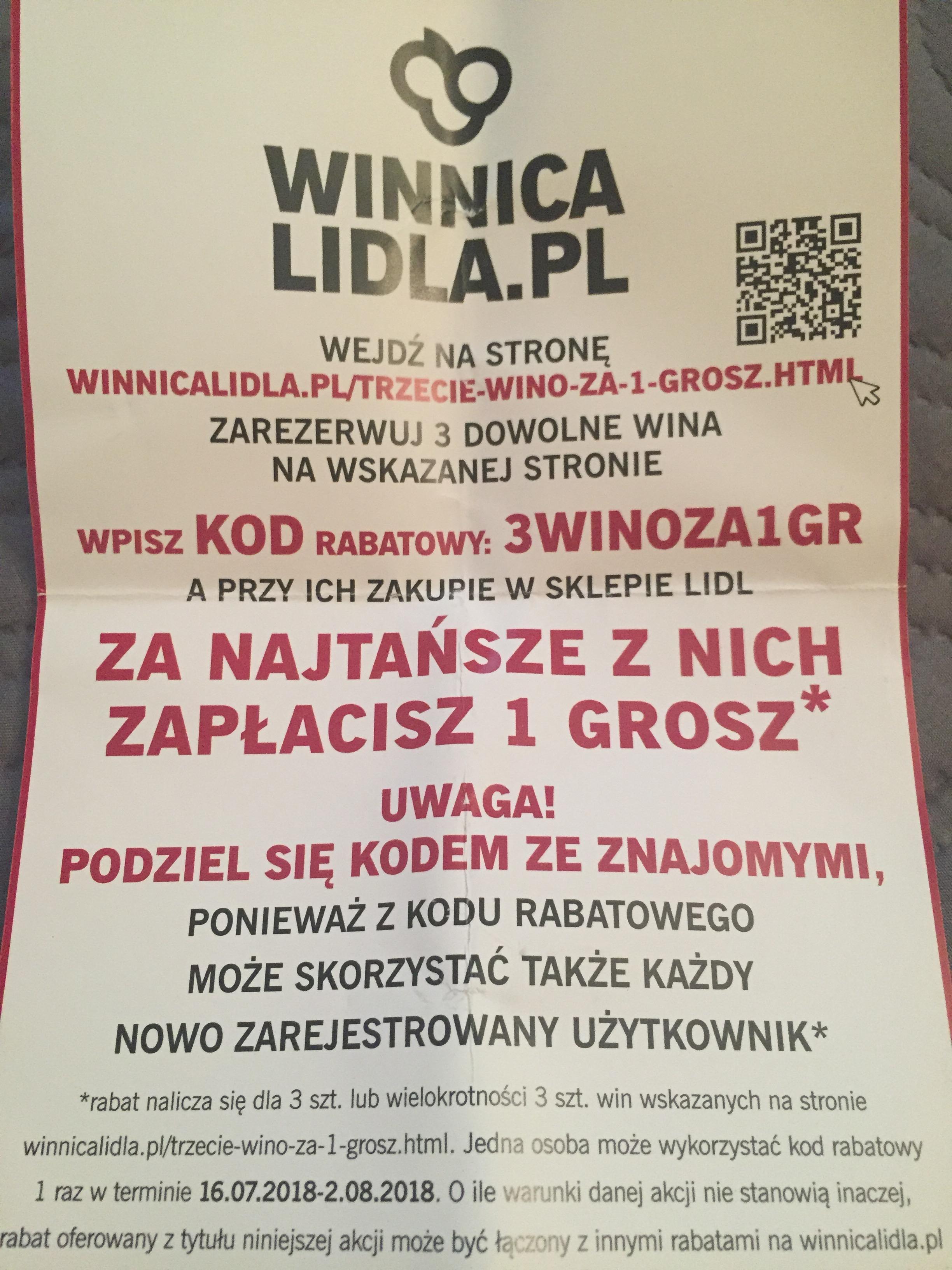 Winnica Lidla: Przy zakupie dwóch win trzecie wino za 1gr