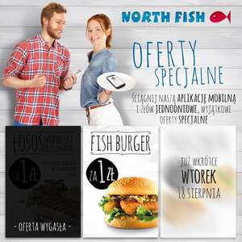 FISH Burger za 1 zł (tylko w czwartek 13 sierpnia) @ North Fish