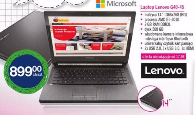 Laptop Lenovo G40-45 za 899zł (14', Procesor AMD, 2GB ram, 500GB dysk, Windows 8.1) @ Biedronka
