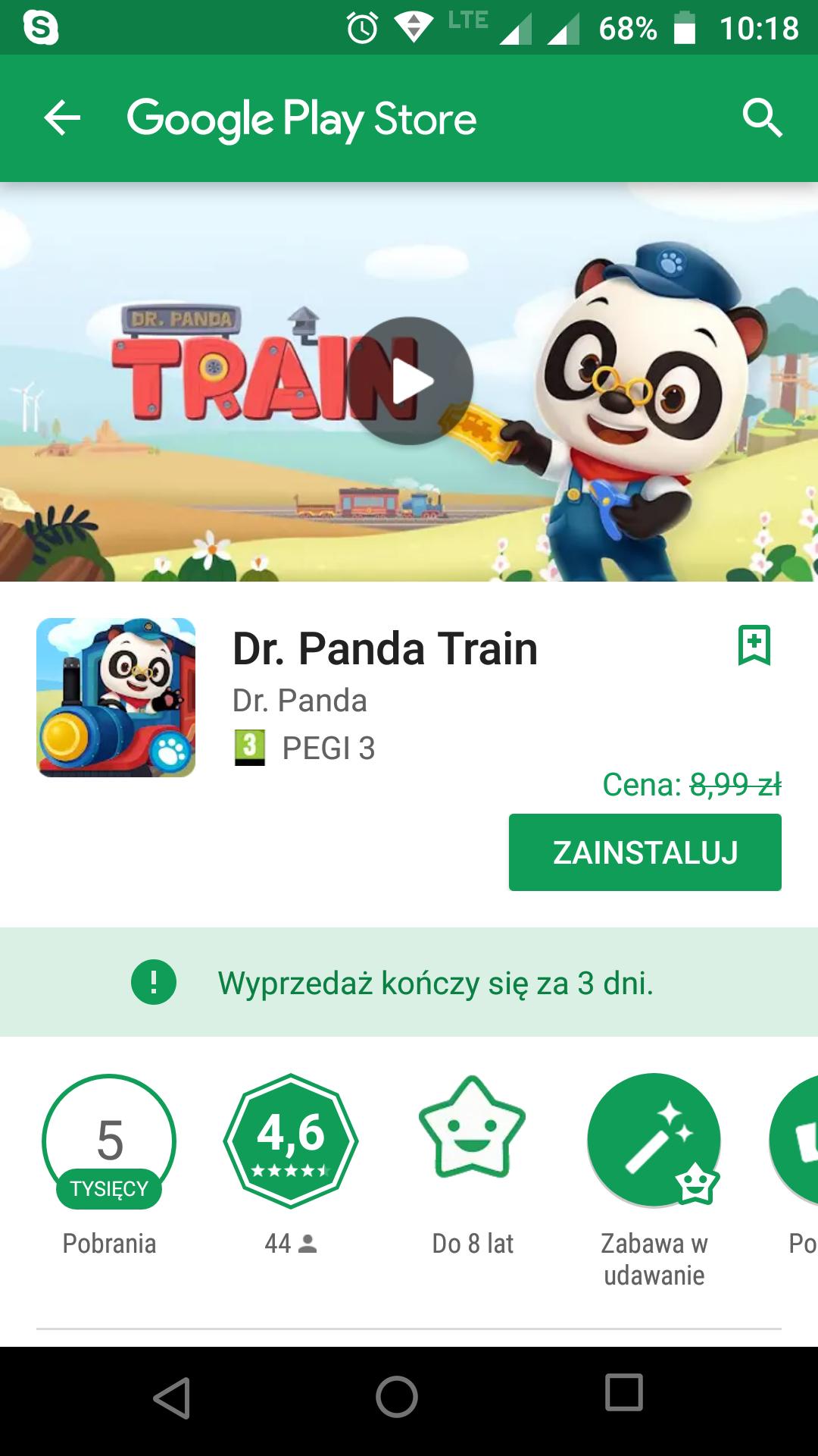 Dr. Panda Train *android **ios gra dla dzieci