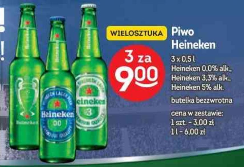 Piwo Heineken 0,5l(0,0%/3,3%/5%) 3sztuki za 9zł @Żabka