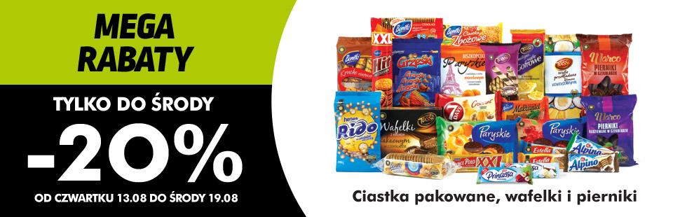 -20% rabatu na pakowane ciastka, pierniki i wafelki @ Biedronka