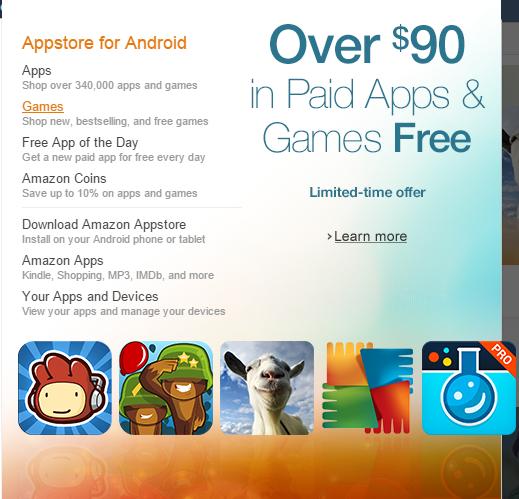 Gry i aplikacje o wartości 90$ za DARMO @ Amazon Apps