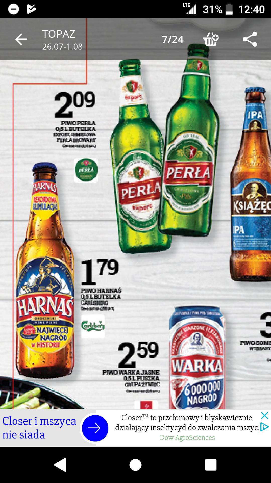 Piwo Harnaś w sieci  sklepów Topaz