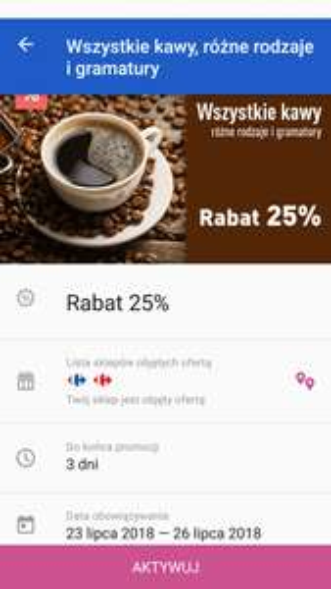 Dowolna kawa 25% taniej z kuponem w aplikacji Carrefour