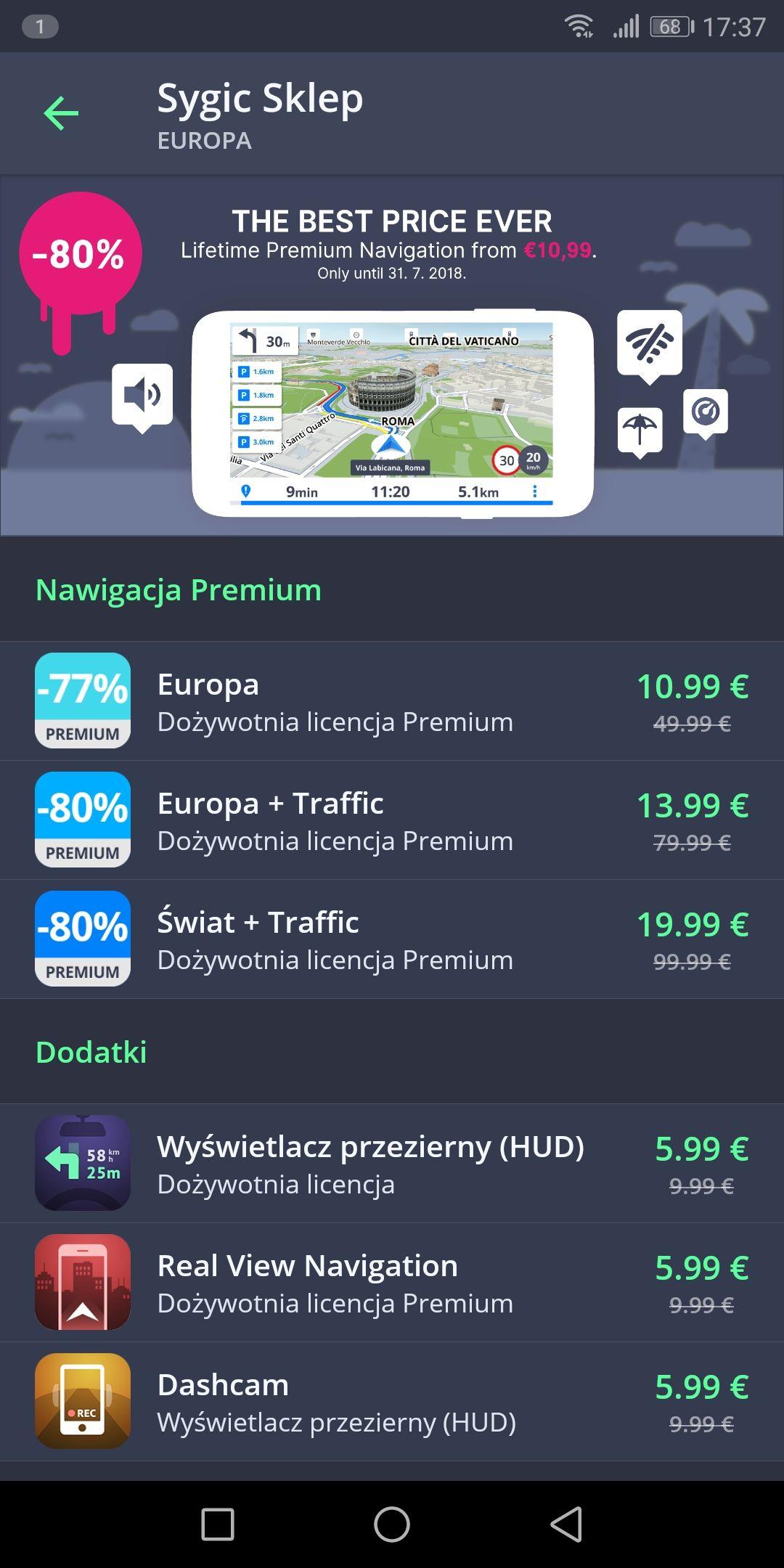 Super nawigacja SYGIC EU PREMIUM + traffic ( android, iOS)
