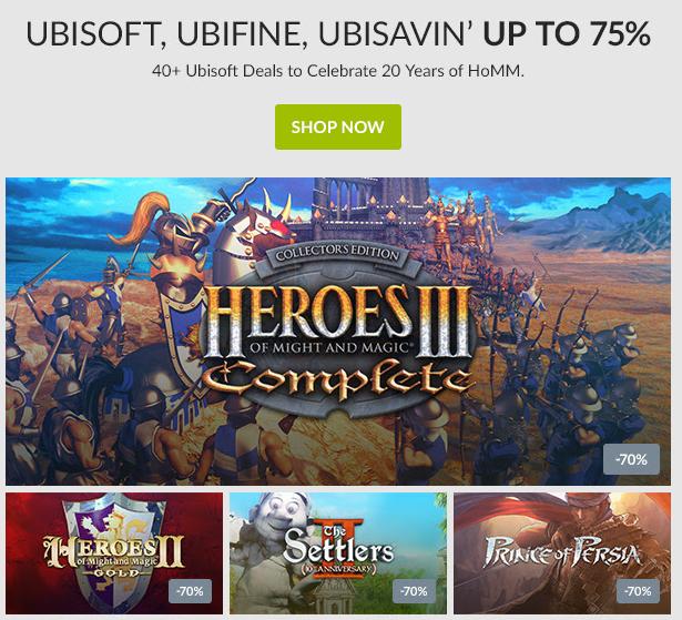 WYPRZEDAŻ gier Ubisoft (Heroes, Prince of Persia, Far Cry, Rayman, Assassins Creed i inne!) do -75% @ GOG