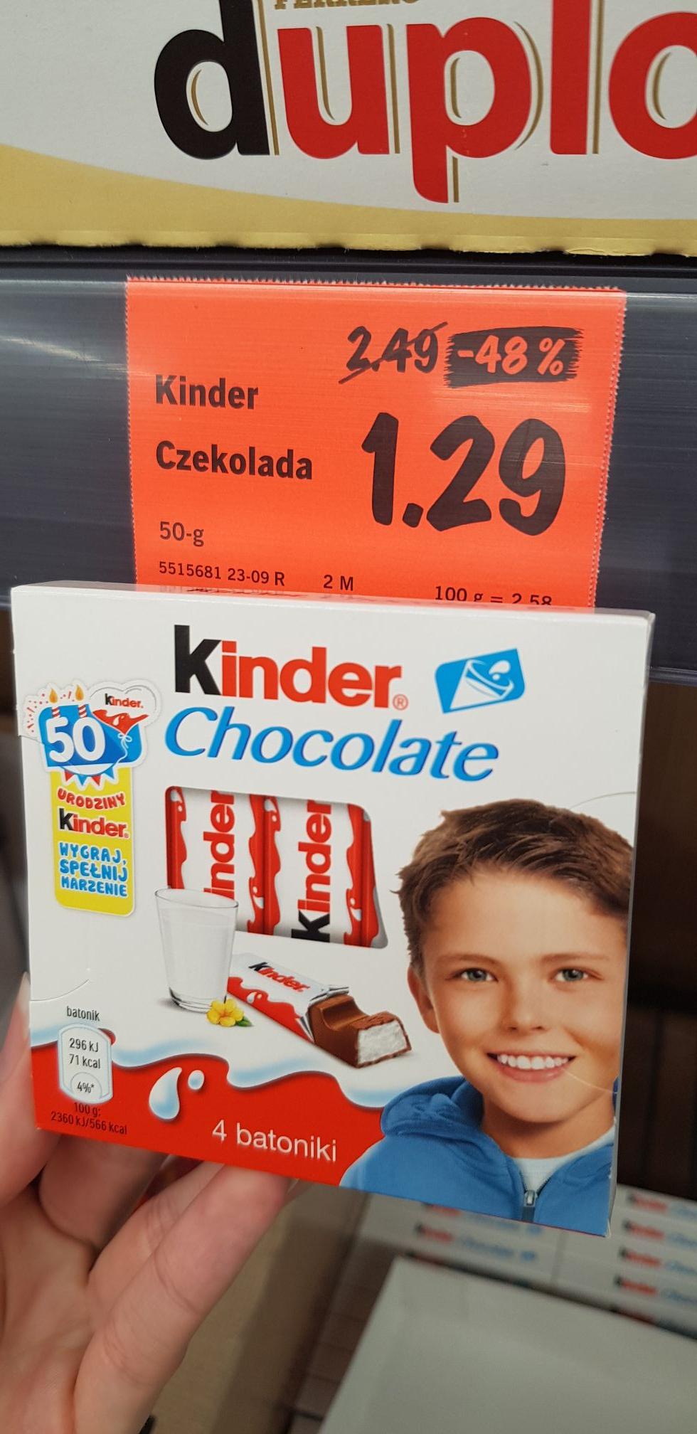 Kinder chocolate 50g 1,29 oraz Maxi 126g 3.49 z 7.