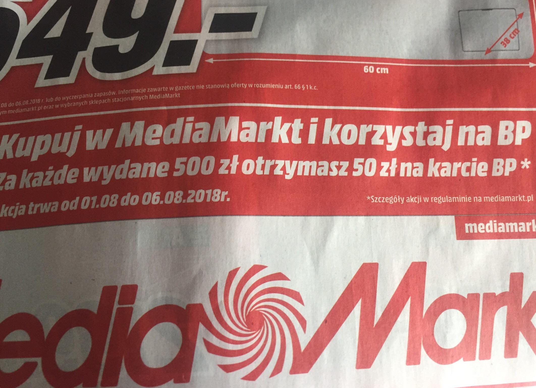 50zł na karcie BP za każde wydane 500zł @ mediamarkt @saturn