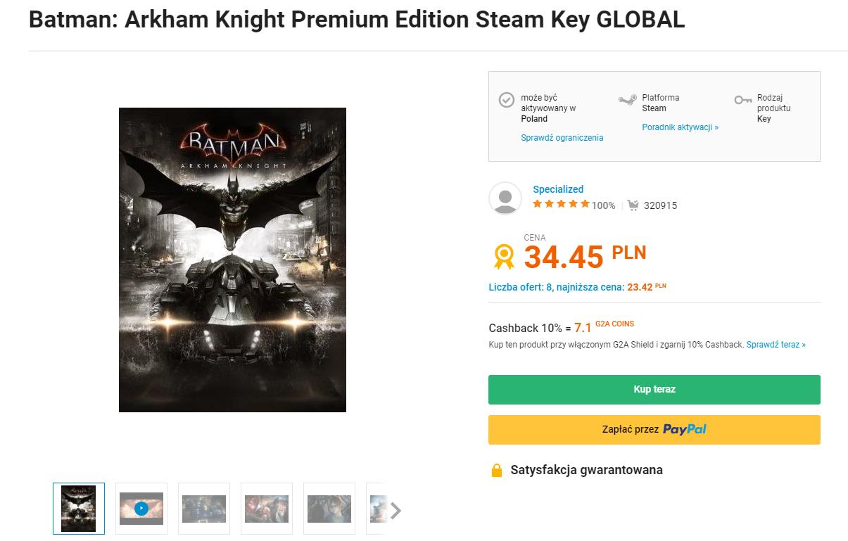 [G2A] Batman Arkham Knight Premium Edition + pozostałe części Batmana