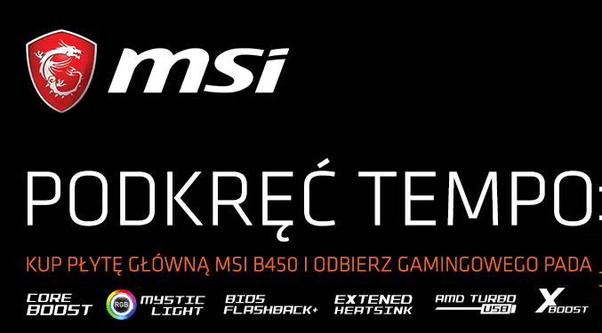 Dowolna płyta MSI AM4 B450 z Padem MSI Force GC20 [149,99zł] GRATIS!
