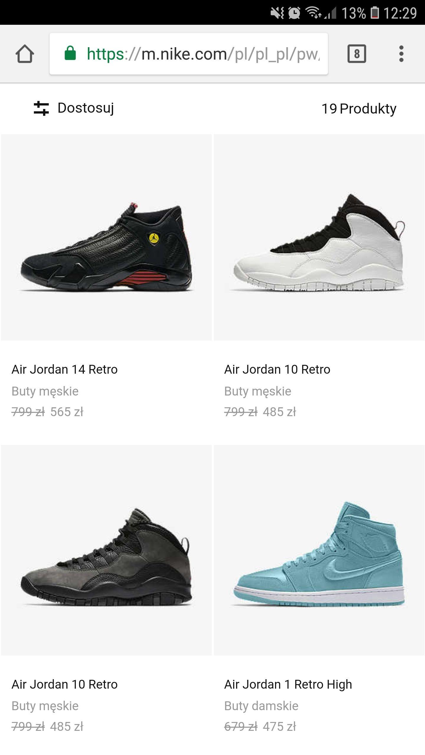 Buty Nike Jordan Retro kilka modeli oraz promocja Air Max 2017