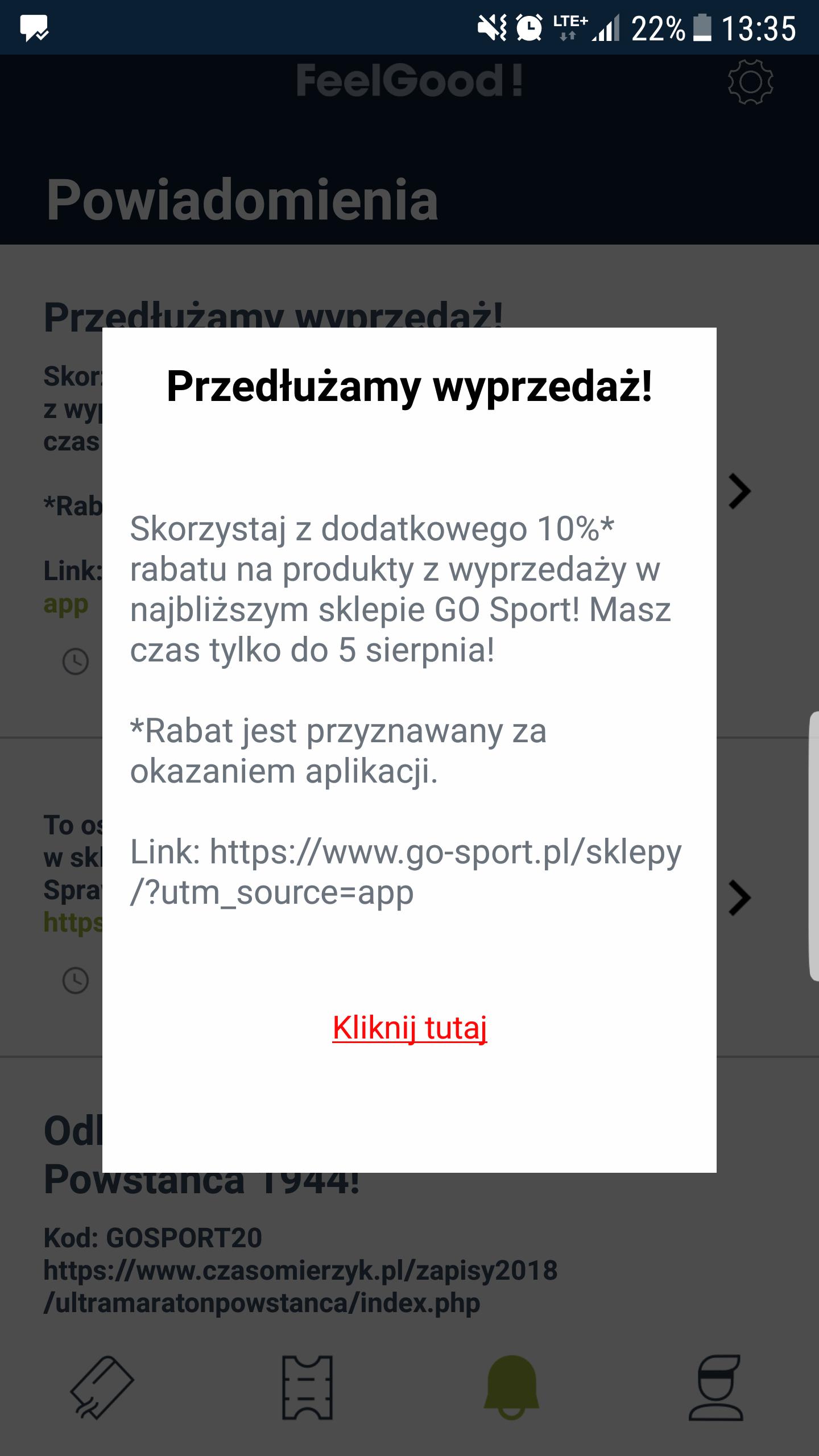 - 10 % na wyprzedaż z apką Go Sport