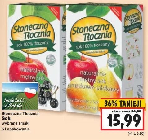 Naturalne soki Słoneczna Tłocznia w cenie 15,99zł za 5L @ Kaufland