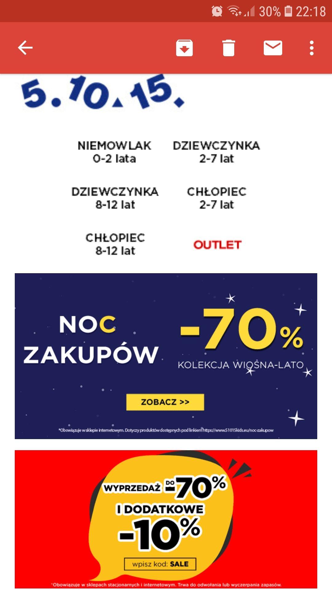 -70% i dodatkowe -10% NOC ZAKUPOW 5.10.15.