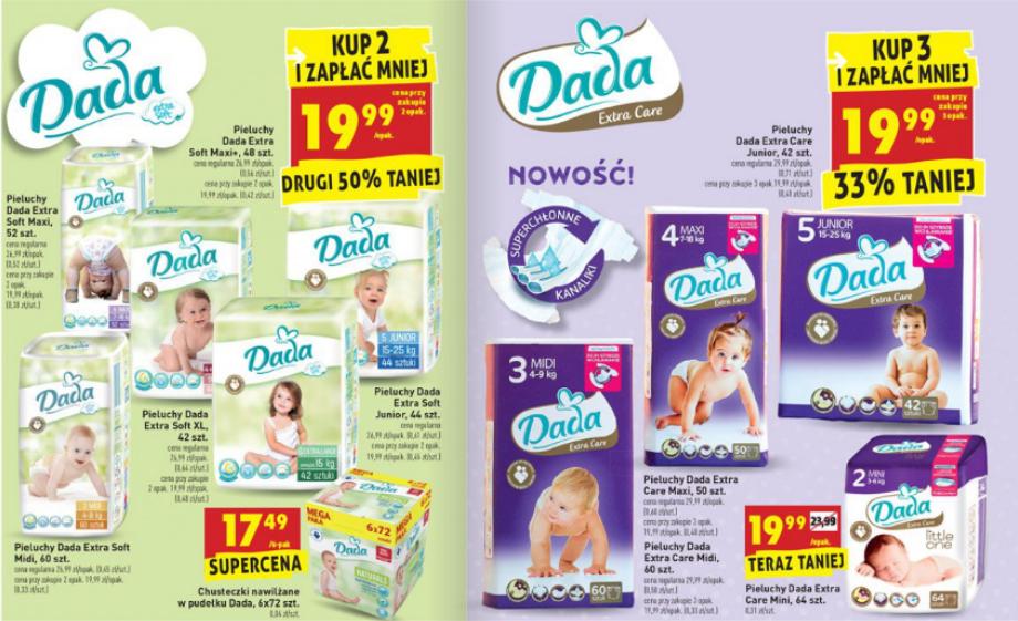 Dada Extra Soft i Dada Extra Care za 19,99zł (+ promocja na Bebiko) @ Biedronka